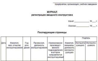 Скачать Журнал регистрации вводного инструктажа